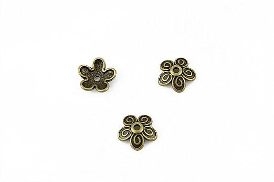 Capacele margele bronz floare 9,5mm