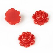 Cabochon rasina trandafir 15mm - rosu