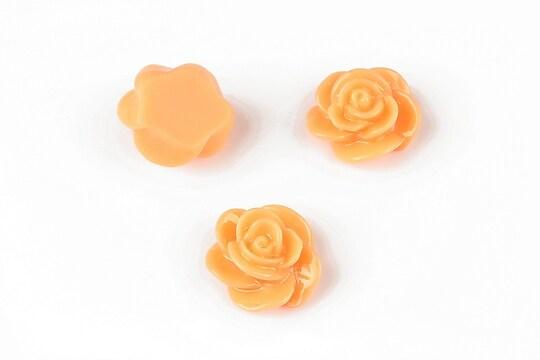 Cabochon rasina floare 14mm - portocaliu deschis