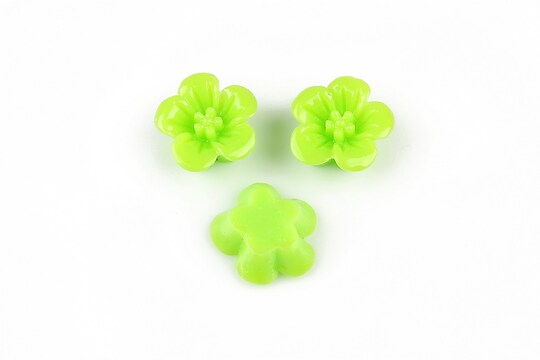 Cabochon din  rasina floare 14mm - verde deschis