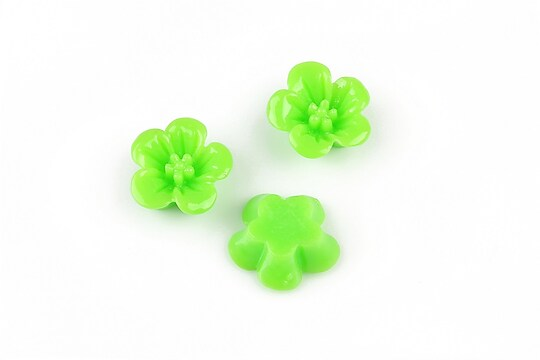 Cabochon din  rasina floare 14mm - verde