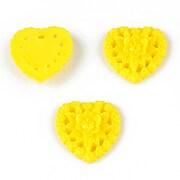 Cabochon din  rasina inima 17mm - galben