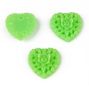 Cabochon din  rasina inima 17mm - verde