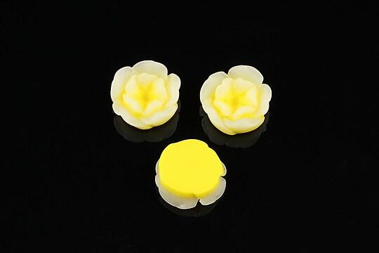 Cabochon rasina in 2 culori  floare 13mm - galben