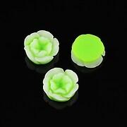 Cabochon rasina in 2 culori  floare 13mm - verde