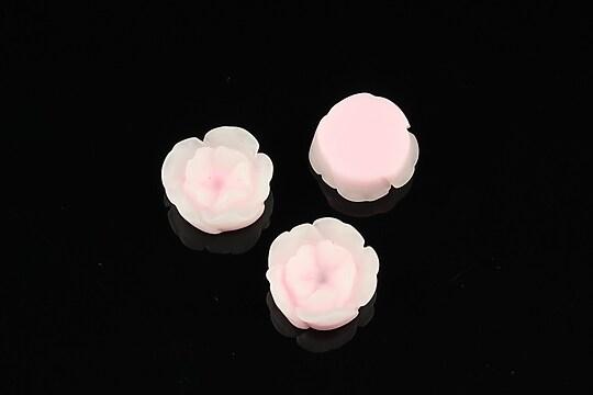 Cabochon rasina in 2 culori  floare 13mm - roz