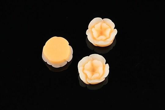 Cabochon rasina in 2 culori  floare 13mm - portocaliu