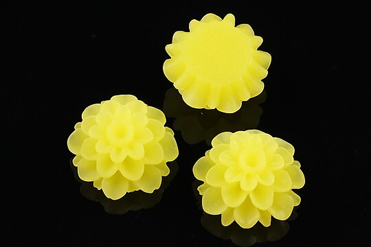 Cabochon rasina frosted dalie 20mm - galben citron