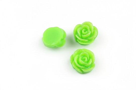 Cabochon rasina floare cu sclipici 12mm - verde