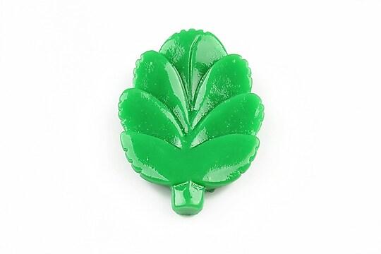Cabochon rasina frunza 37x27mm - verde inchis