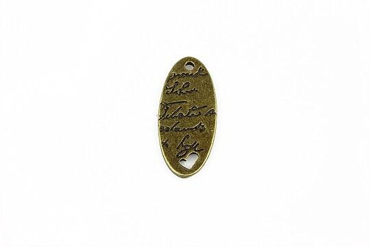 Charm bronz mesaj si inimioara 25x11mm