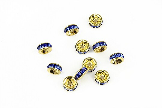Distantiere aurii cu rhinestone albastre 2,5x6mm