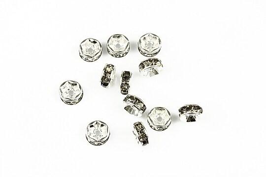 Distantiere argintii cu rhinestone gri 2,5x6mm