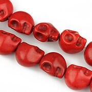 Howlit de sinteza, cap de mort 12x11mm - rosu inchis