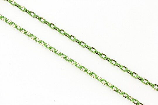 Lant cu zale in doua culori 3x2mm (49cm) - auriu - verde olive