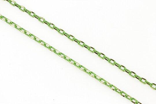 Lant cu zale sudate, in doua culori 3x2mm (49cm) - auriu - verde olive
