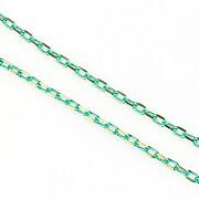 Lant cu zale sudate, in doua culori 3x2mm (49cm) - auriu - verde