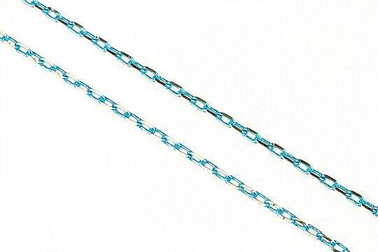 Lant cu zale sudate, in doua culori 3x2mm (49cm) - argintiu - bleu