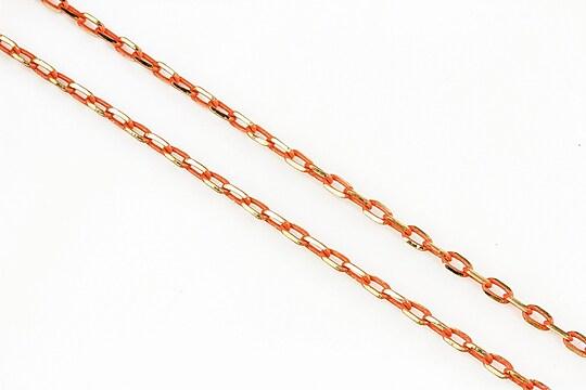 Lant cu zale in doua culori 3x2mm (49cm) - auriu - portocaliu