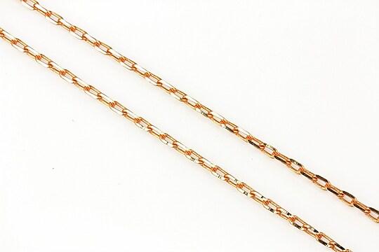 Lant cu zale in doua culori 3x2mm (49cm) - auriu - portocaliu deschis