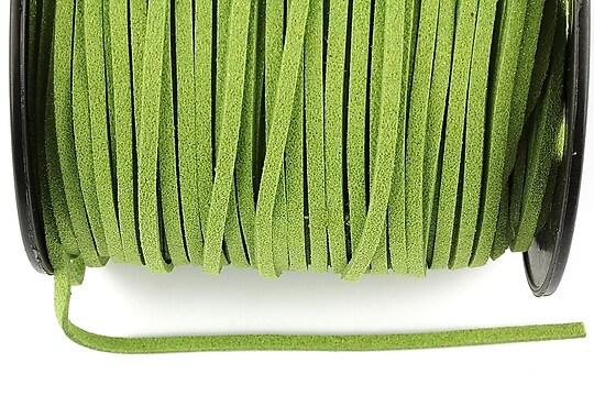 Snur faux suede latime 3mm (1m) - verde masliniu cu particule stralucitoare