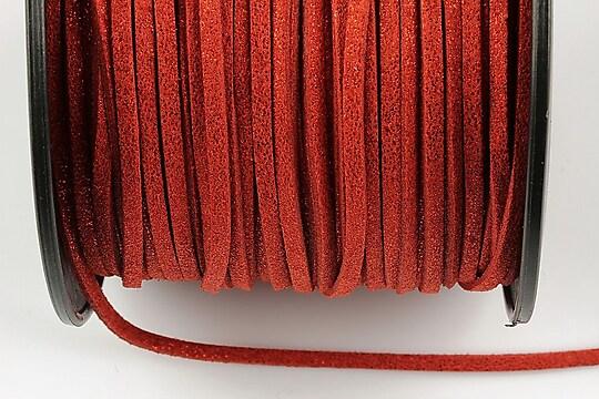 Snur faux suede latime 3mm (1m) - rosu inchis cu particule stralucitoare