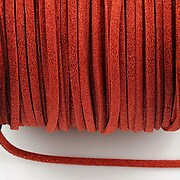 Snur faux suede latime 3mm (5m) - rosu inchis cu particule stralucitoare