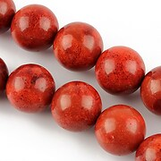 Sirag coral poros rosu-caramiziu sfere 14mm