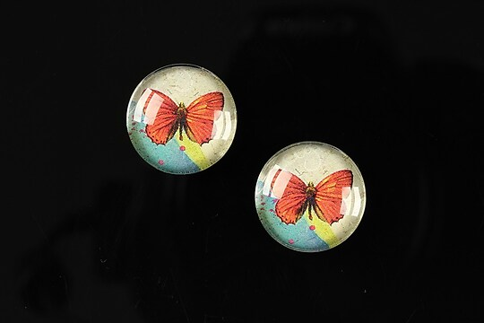 "Cabochon sticla 16mm ""Colorful wings"" cod 028"