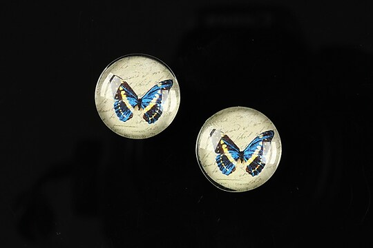 "Cabochon sticla 16mm ""Colorful wings"" cod 030"