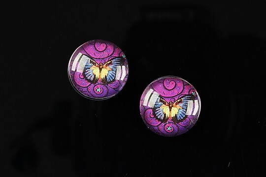 "Cabochon sticla 16mm ""Magic Butterfly"" cod 035"