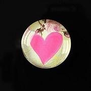 "Cabochon sticla 25mm ""Pink hearts"" cod 272"
