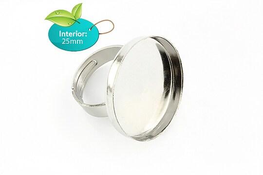 Baza de inel argintiu inchis, reglabila, cu platou dim. interioara 25mm