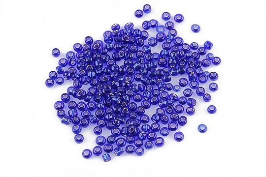Margele de nisip 2mm cu foita argintie (50g) - cod 043 - albastru cobalt