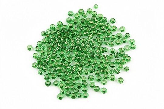 Margele de nisip 2mm cu foita argintie (50g) - cod 054 - verde