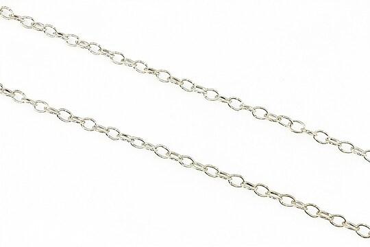 Lant argintiu inchis cu zale gravate 5x3,3mm (49cm)