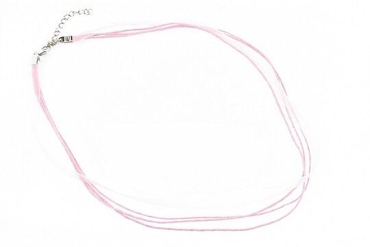 Snur din organza si bumbac cerat cu inchizatoare - roz