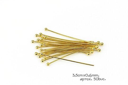 Ace cu bila aurii 3,5cm, grosime 0,6mm (50 buc.)