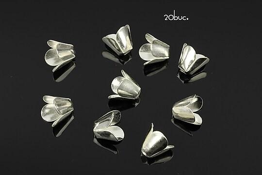 Capacele filigranate argintii floare 9x7,5mm (20buc.)