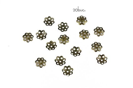 Capacele filigranate bronz floare 6mm (20buc.)