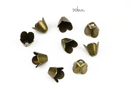 Capacele filigranate bronz floare 9x7,5mm (20buc.)