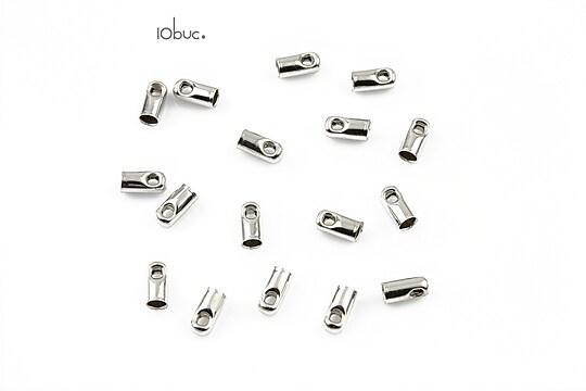 Capat snur argintiu inchis, interior 2mm (10buc.)