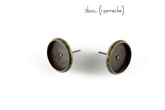 Baza cercei bronz 14x12mm, platou 12,5mm (2 buc.)