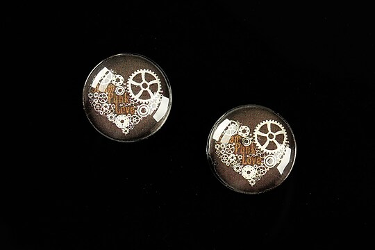 "Cabochon sticla 16mm ""Clock Mechanism"" cod 465"