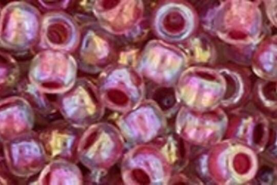 Margele Toho rotunde 6/0 - Inside-Color Rainbow Crystal/Strawberry Lined