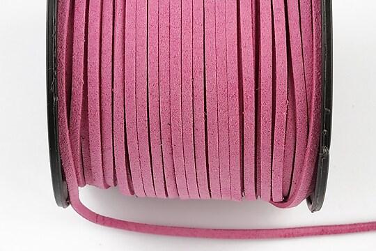 Snur suede (imitatie piele intoarsa) 3x1mm, roz inchis (5m)