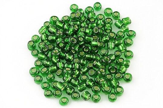 Margele de nisip 4mm cu foita argintie (50g) - cod 088 - verde