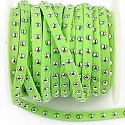 Snur suede cu tinte argintii, latime 4mm, verde neon (1m)