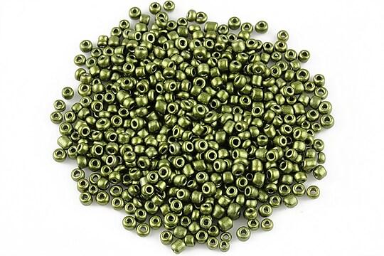Margele de nisip 2mm cu efect frosted (50g) - cod 350 - verde olive