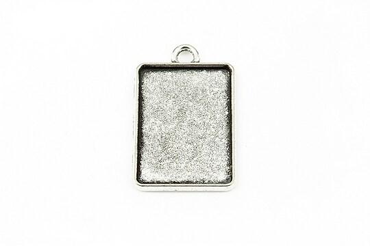 Baza cabochon argintiu antichizat 31x20mm, interior 25x18mm